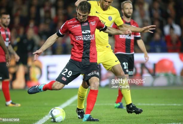Christophe Kerbrat of Guingamp during the French Ligue 1 match between En Avant Guingamp and Paris Saint Germain at Stade de Roudourou on August 13...