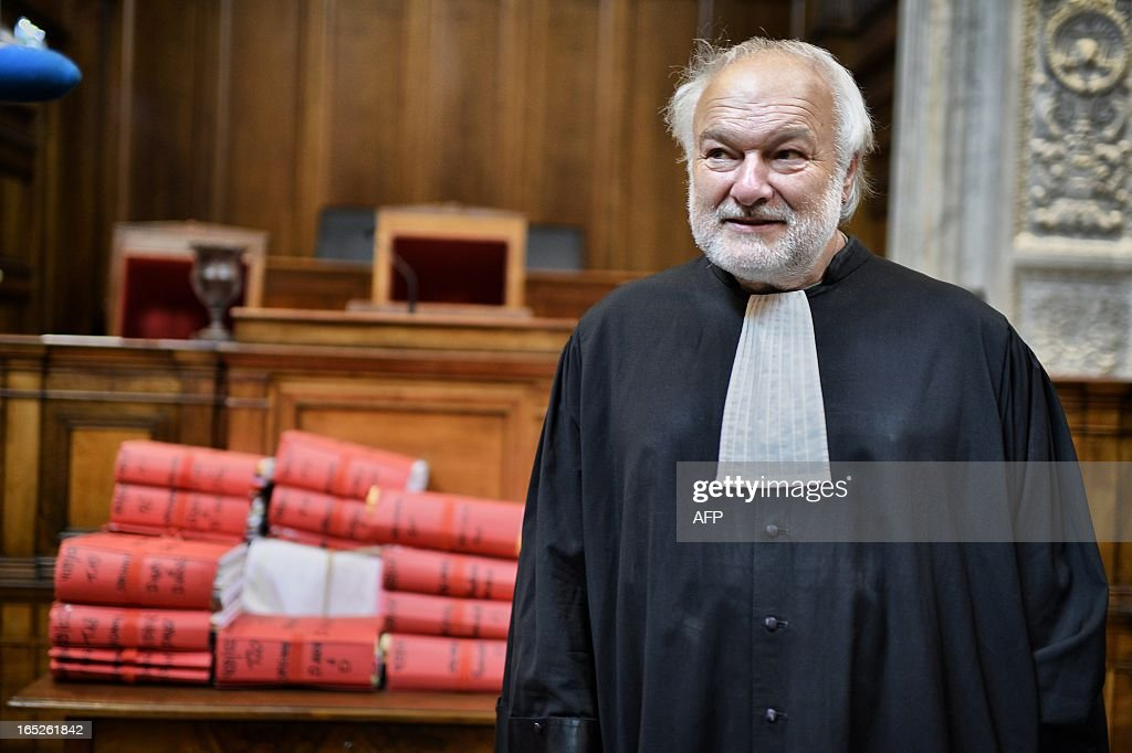 Christophe Khider's lawyer Bernard Ripert looks on in Lyon's criminal courtroom, on April 2, 2013, on the opening day of Christophe Khider and Omar Top El Hadj's trial. They are judged for having escaped from jail using explosives and taking hostages two prison staffs.