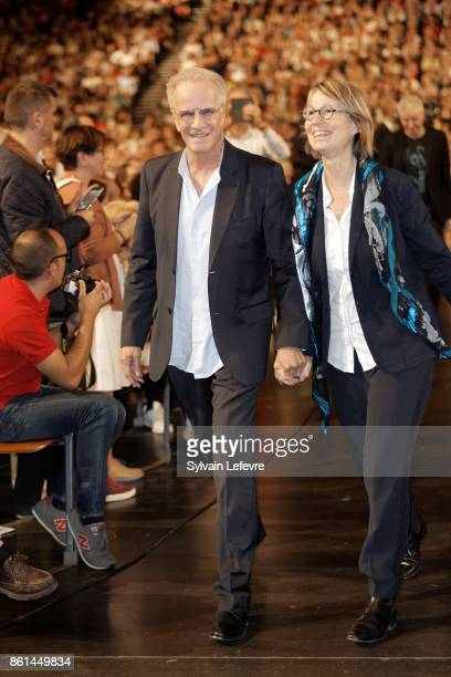 Christophe Lambert and French Minister of Culture Francoise Nyssen attends the opening ceremony of 9th Film Festival Lumiere In Lyon on October 14...