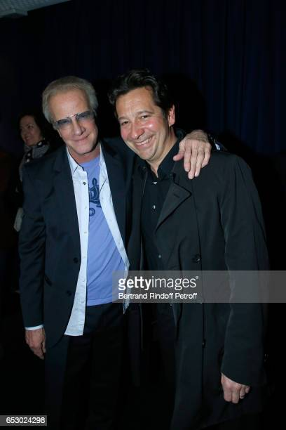 Christophe Lambert and Laurent Gerra attend the 'Chacun sa vie' Paris Premiere at Cinema UGC Normandie on March 13 2017 in Paris France