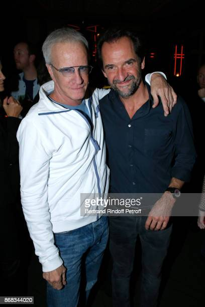 Christophe Lambert and Stephane de Groodt attend Claude Lelouch celebrates his 80th Birthday at Restaurant Victoria on October 30 2017 in Paris France