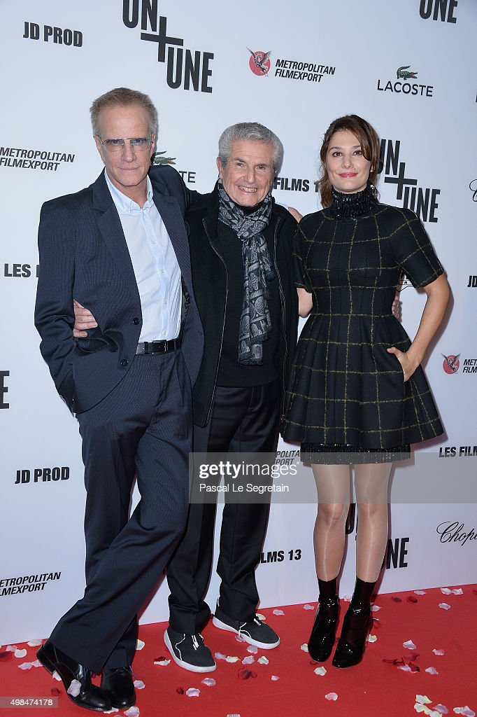 Christophe Lambert, <a gi-track='captionPersonalityLinkClicked' href=/galleries/search?phrase=Claude+Lelouch&family=editorial&specificpeople=207051 ng-click='$event.stopPropagation()'>Claude Lelouch</a> and <a gi-track='captionPersonalityLinkClicked' href=/galleries/search?phrase=Alice+Pol&family=editorial&specificpeople=5600277 ng-click='$event.stopPropagation()'>Alice Pol</a> attend The 'Un + Une' Paris Premiere At Cinema UGC Normandie on November 23, 2015 in Paris, France.
