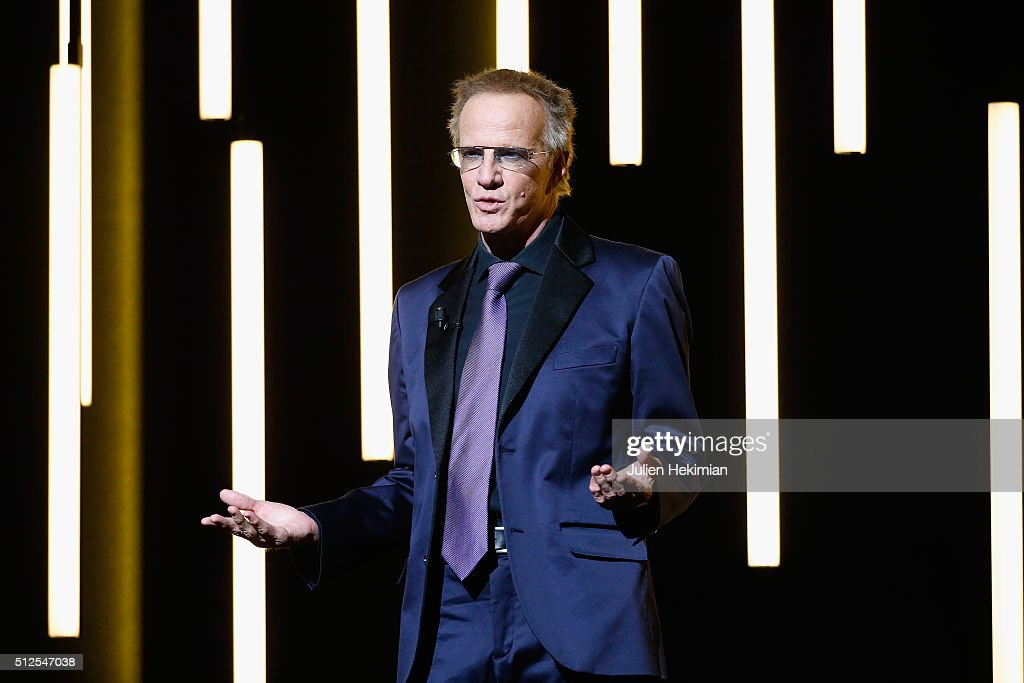 Christophe Lambert poses on stage during The Cesar Film Award 2016 at Theatre du Chatelet on February 26, 2016 in Paris, France.