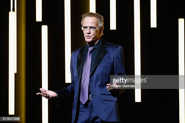 Christophe Lambert poses on stage during The Cesar Film Award 2016 at Theatre du Chatelet on February 26 2016 in Paris France
