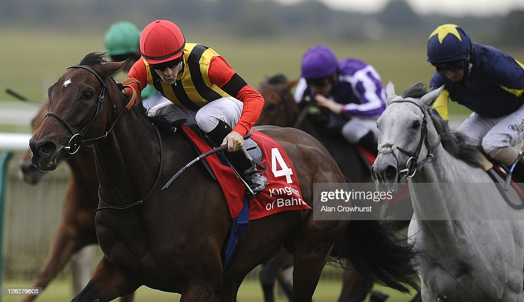 Christophe Lemaire riding Sahpresa win The Kingdom Of Bahrain Sun Chariot Stakes at Newmarket racecourse on September 24, 2011 in Newmarket, England.