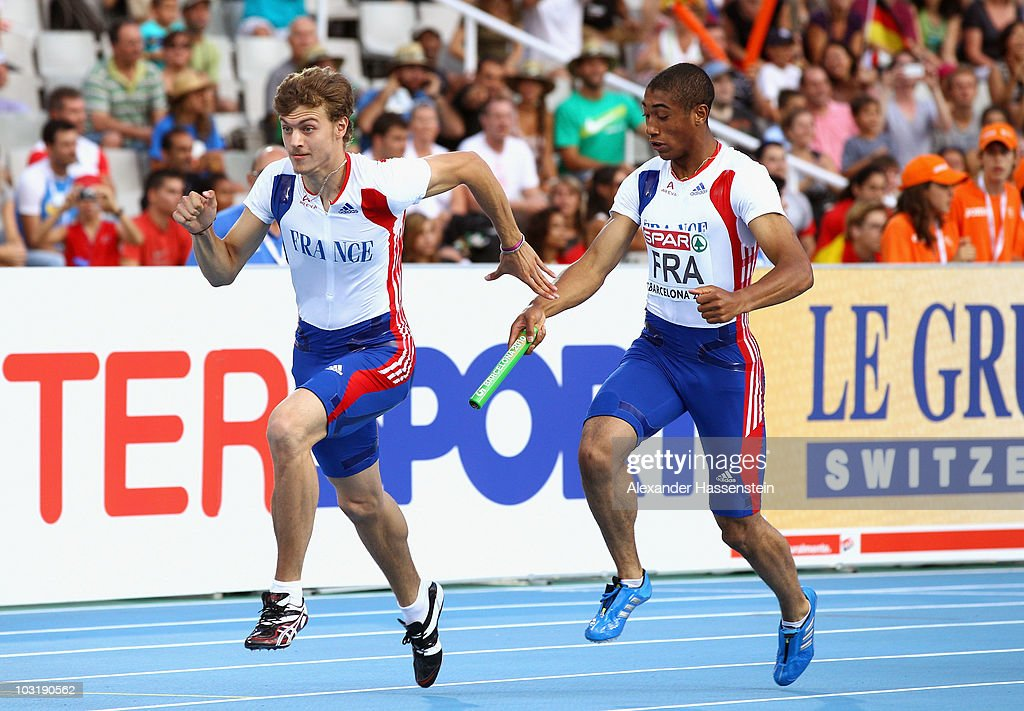 <a gi-track='captionPersonalityLinkClicked' href=/galleries/search?phrase=Christophe+Lemaitre&family=editorial&specificpeople=5431868 ng-click='$event.stopPropagation()'>Christophe Lemaitre</a> and Pierre-Alexis Pessonneaux of France compete in the Mens 4x100m Relay Final during day six of the 20th European Athletics Championships at the Olympic Stadium on August 1, 2010 in Barcelona, Spain.