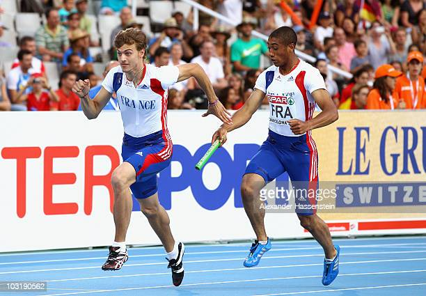 Christophe Lemaitre and PierreAlexis Pessonneaux of France compete in the Mens 4x100m Relay Final during day six of the 20th European Athletics...
