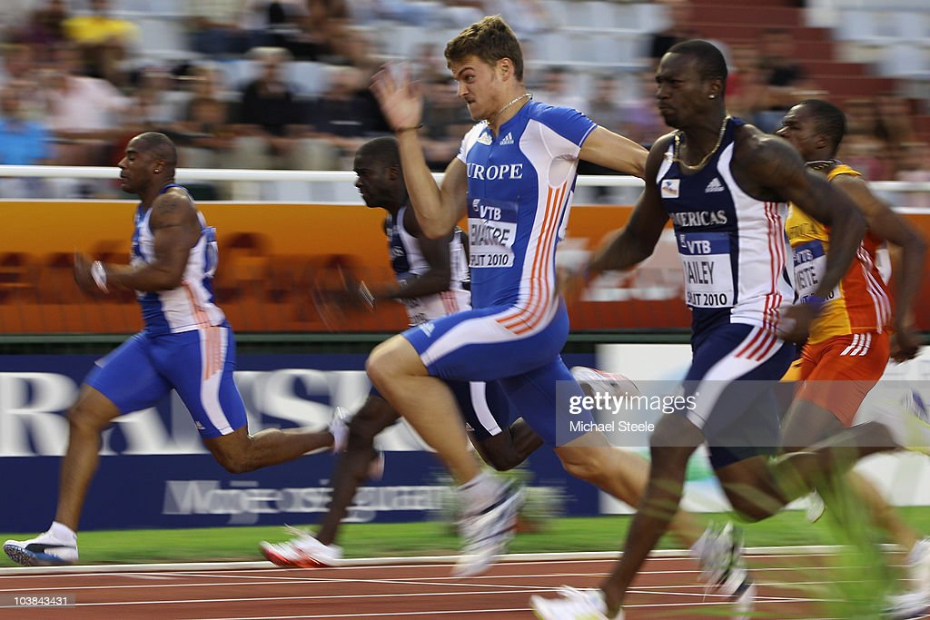 <a gi-track='captionPersonalityLinkClicked' href=/galleries/search?phrase=Christophe+Lemaitre+-+Sprinter&family=editorial&specificpeople=5431868 ng-click='$event.stopPropagation()'>Christophe Lemaitre</a> (c) of France and Team Europe wins the men's 100m from <a gi-track='captionPersonalityLinkClicked' href=/galleries/search?phrase=Daniel+Bailey+-+Sprinter&family=editorial&specificpeople=4460884 ng-click='$event.stopPropagation()'>Daniel Bailey</a> (r) of Antigua and Team Americas during the IAAF/VTB Continental Cup at the Stadion Poljud on September 4, 2010 in Split, Croatia.