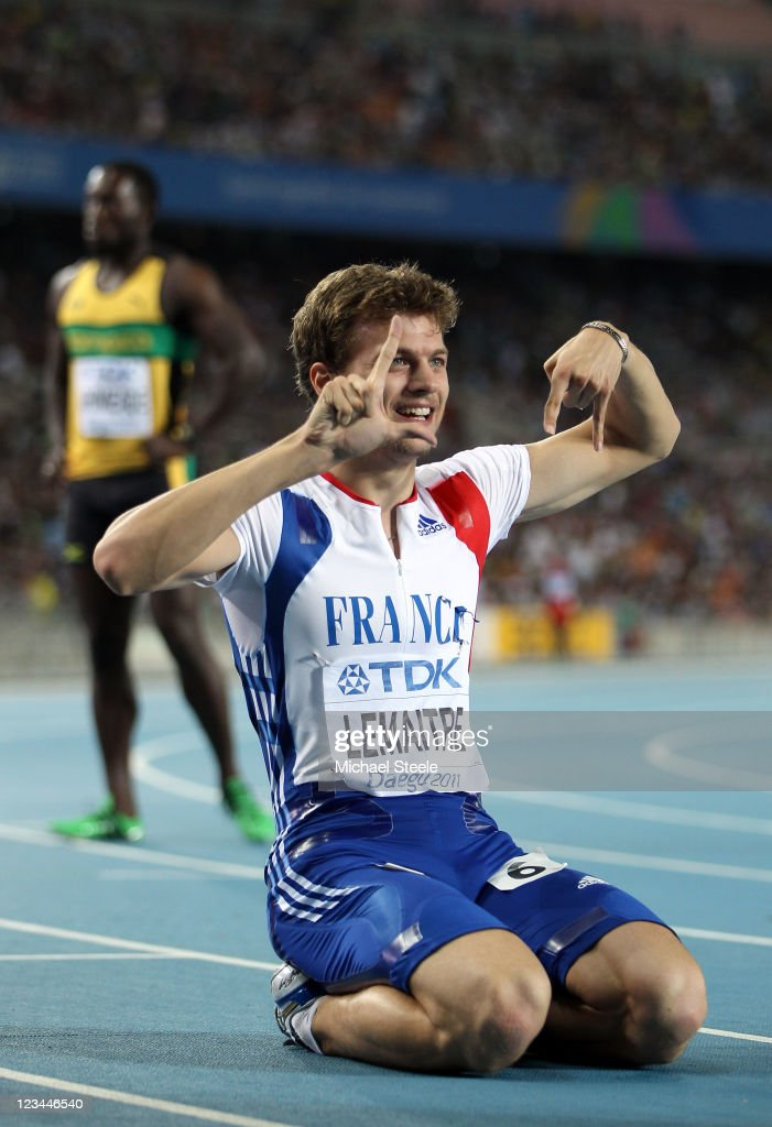 <a gi-track='captionPersonalityLinkClicked' href=/galleries/search?phrase=Christophe+Lemaitre+-+Sprinter&family=editorial&specificpeople=5431868 ng-click='$event.stopPropagation()'>Christophe Lemaitre</a> of France celebrates third place in the men's 200 metres final during day eight of 13th IAAF World Athletics Championships at Daegu Stadium on September 3, 2011 in Daegu, South Korea.