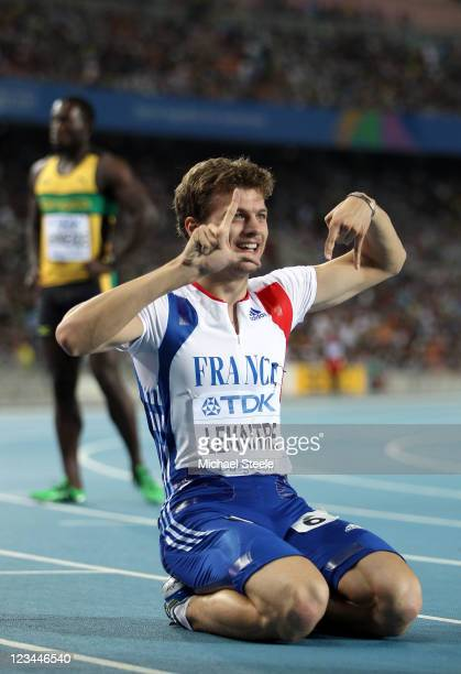Christophe Lemaitre of France celebrates third place in the men's 200 metres final during day eight of 13th IAAF World Athletics Championships at...
