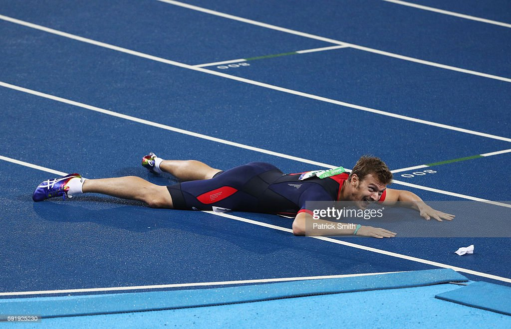 Christophe Lemaitre of France celebrates winning bronze in the Men's 200m Final on Day 13 of the Rio 2016 Olympic Games at the Olympic Stadium on...