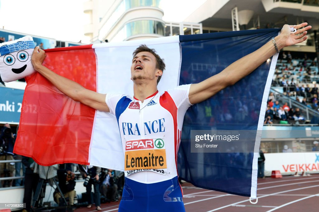 <a gi-track='captionPersonalityLinkClicked' href=/galleries/search?phrase=Christophe+Lemaitre&family=editorial&specificpeople=5431868 ng-click='$event.stopPropagation()'>Christophe Lemaitre</a> of France celebrates winning the Men's 100 Metres Final during day two of the 21st European Athletics Championships at the Olympic Stadium on June 28, 2012 in Helsinki, Finland