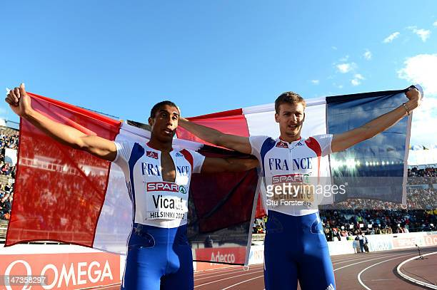 Christophe Lemaitre of France celebrates with Jimmy Vicaut of France after winning the Men's 100 Metres Final during day two of the 21st European...