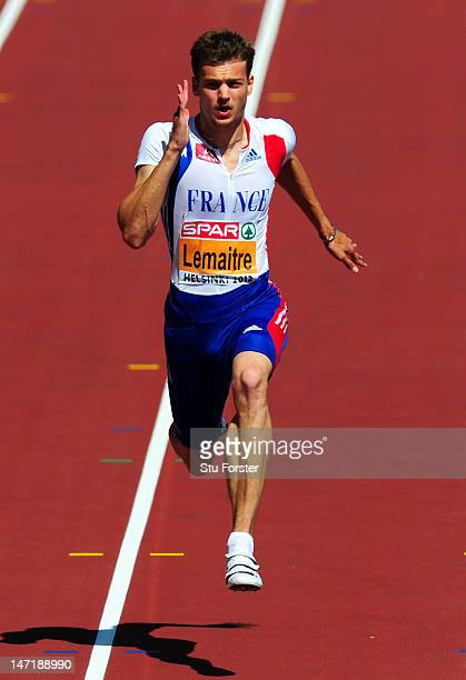 Christophe Lemaitre of France competes in the Men's 100m Heat 3 during day one of the 21st European Athletics Championships at the Olympic Stadium on...