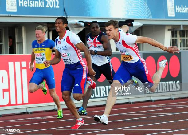 Christophe Lemaitre of France crosses the line ahead of Jimmy Vicaut of France to win the Men's 100 Metres Final during day two of the 21st European...