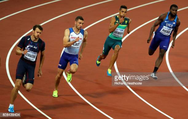 Christophe Lemaitre of France Daniel Talbot of Great Britain Wayde van Niekerk of South Africa and Ameer Webb of the United States compete in the...