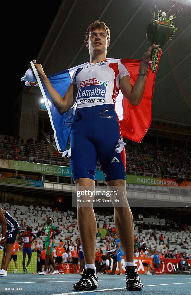 <a gi-track='captionPersonalityLinkClicked' href=/galleries/search?phrase=Christophe+Lemaitre+-+Sprinter&family=editorial&specificpeople=5431868 ng-click='$event.stopPropagation()'>Christophe Lemaitre</a> of France wins gold in the Mens 100m Final during day two of the 20th European Athletics Championships at the Olympic Stadium on July 28, 2010 in Barcelona, Spain.