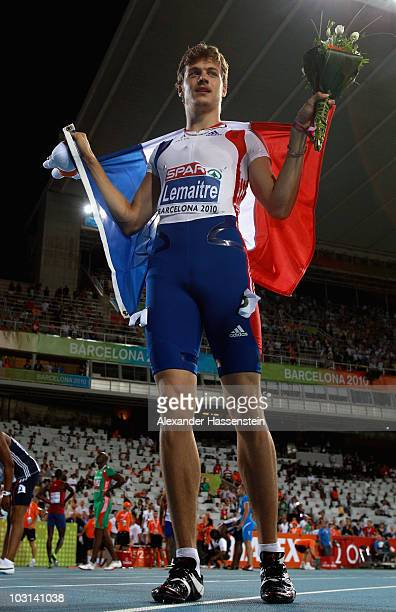 Christophe Lemaitre of France wins gold in the Mens 100m Final during day two of the 20th European Athletics Championships at the Olympic Stadium on...