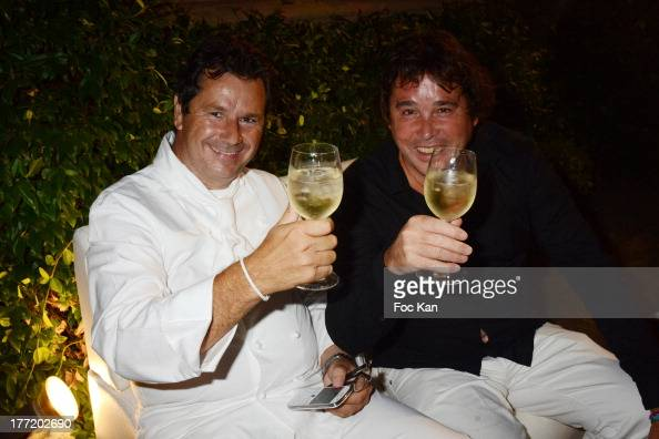 Christophe Leroy and Didier Audebert attend the Massimo Gargia's Birthday Dinner at Moulins de Ramatuelle on August 21 2013 in Saint Tropez France