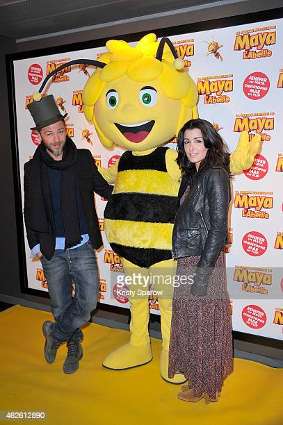 Christophe Mae and Jenifer Bartoli attend the 'Maya The Bee La Grande Aventure De Maya L'Abeille' Paris Premiere at UGC Cine Cite Bercy on February 1...