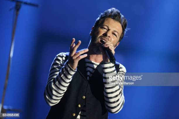 Christophe Mae performs during the '32nd Victoires de la Musique 2017' at Le Zenith on February 10 2017 in Paris France
