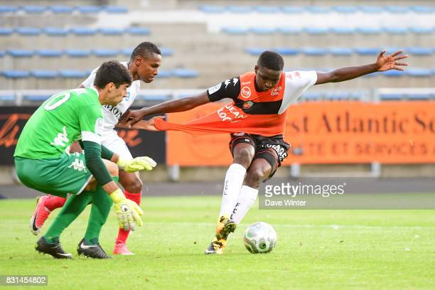 Christophe Mandanne of Chateauroux and Ibrahim Sory Conte and Danijel Petkovic of Lorient during the Ligue 2 match between FC Lorient and Chateauroux...