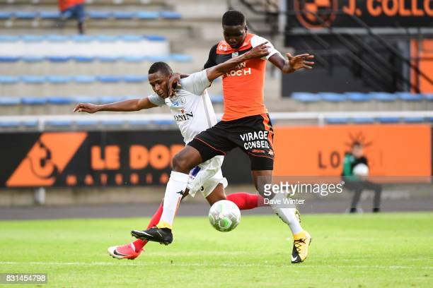 Christophe Mandanne of Chateauroux and Ibrahim Sory Conte of Lorient during the Ligue 2 match between FC Lorient and Chateauroux at Stade du Moustoir...