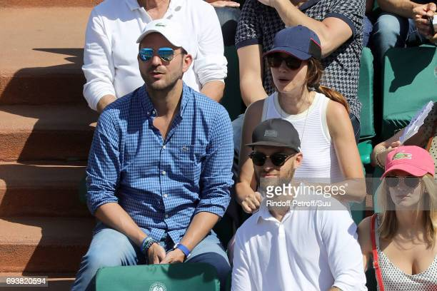Christophe Michalak and actress Delphine Michalak is spotted at Roland Garros on June 8 2017 in Paris France