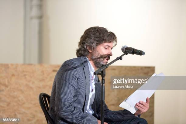 Christophe OnoDitBiot reads 'Tombeau pour Cinq Cent Mille Soldats' for 50th anniversary of the book at Azzedine Alaia Gallery on October 19 2017 in...