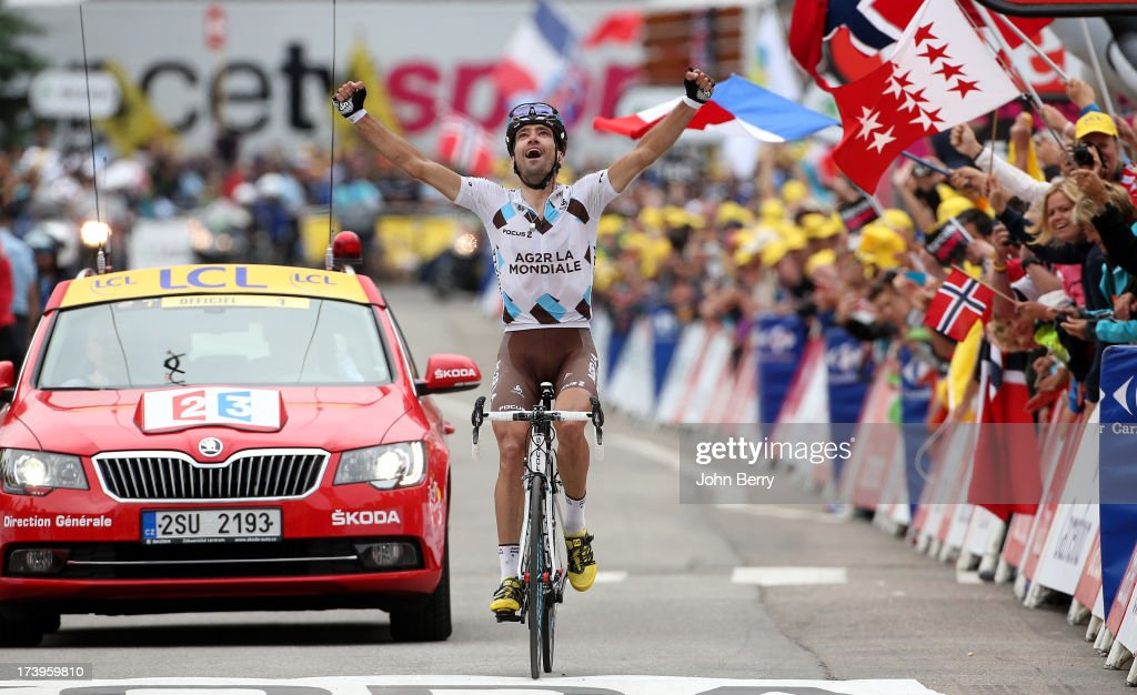 <a gi-track='captionPersonalityLinkClicked' href=/galleries/search?phrase=Christophe+Riblon&family=editorial&specificpeople=4300687 ng-click='$event.stopPropagation()'>Christophe Riblon</a> of France and Team AG2R La Mondiale wins stage eighteen of the 2013 Tour de France, a 172.5KM road stage from Gap to l'Alpe d'Huez, on July 18, 2013 in Alpe d'Huez, France.