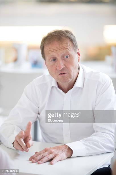 Christophe Sapet chief executive officer of Navya Technologies SAS gestures while speaking during an interview in La Defense district of Paris France...