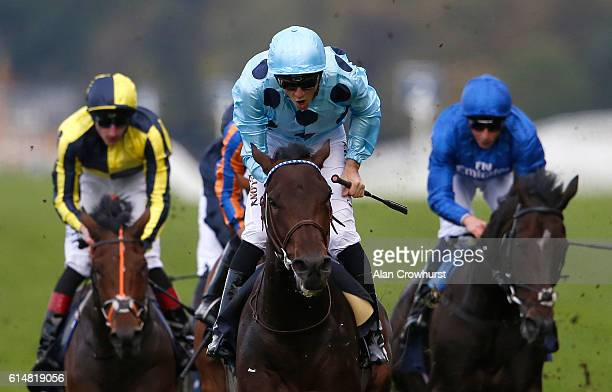 Christophe Soumillon riding Almanzor win The Qipco Champion Stakes at Ascot Racecourse on October 15 2016 in Ascot England