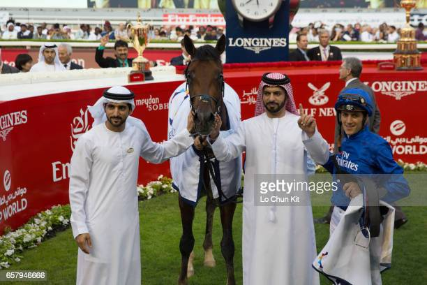 Christophe Soumillon with Thunder Snow wins the UAE Derby Sponsored By The Saeed Mohammed Al Naboodah Group during the Dubai World Cup at the Meydan...