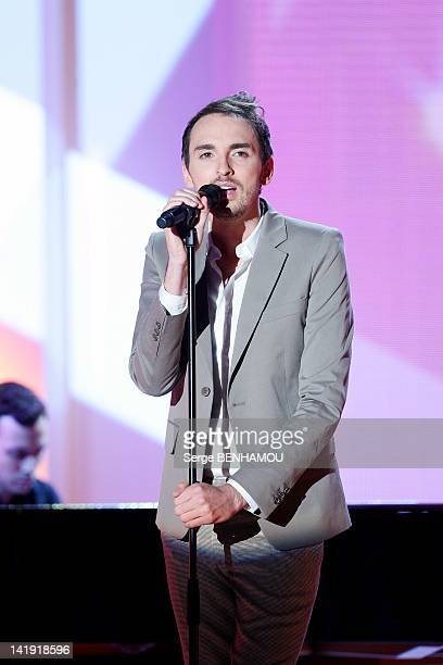 Christophe Willem attends Vivement Dimanche Tv show on January 11 2012 in Paris France