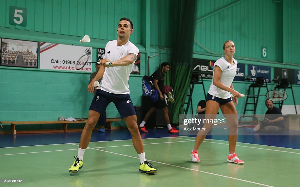 Christopher Adcock and Gabby Adcock of Team GB during the Announcement of Badminton Athletes Named in Team GB for the Rio 2016 Olympic Games at the National Badminton Centre on June 27, 2016 in Milton Keynes, England.