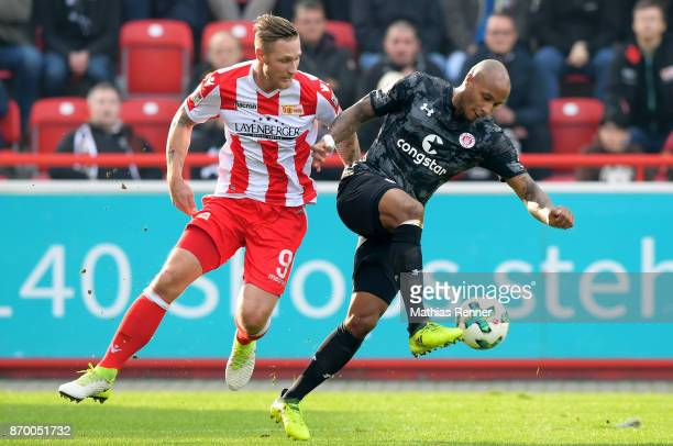 Christopher Avevor of FC StPauli and Sebastian Polter of 1FC Union Berlin during the game between Union Berlin and dem FC St Pauli on november 4 2017...