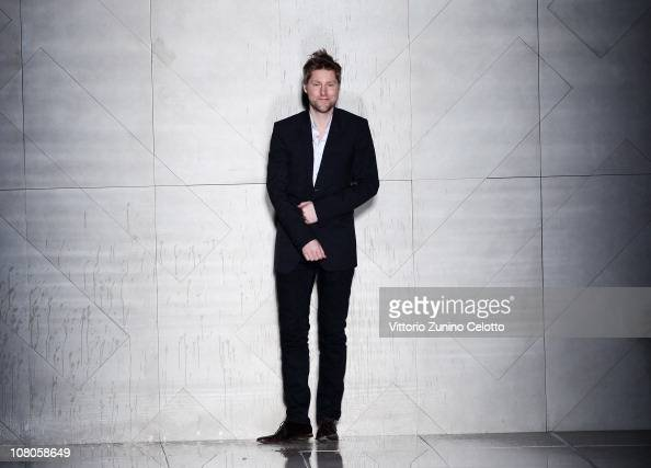 Christopher Bailey aknowledges the applause of the public during the Burberry Prorsum Fashion Show as part of Milan Fashion Week Menswear A/W 2011 on...