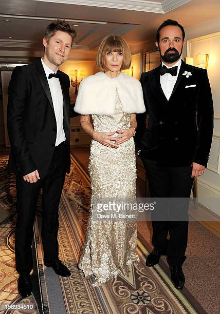 Christopher Bailey Anna Wintour and Evgeny Lebedev attend a drinks reception at the 58th London Evening Standard Theatre Awards in association with...