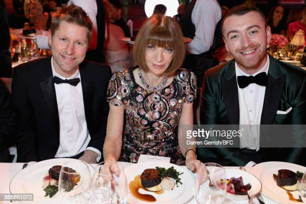 Christopher Bailey Anna Wintour and Sam Smith attend The Fashion Awards 2017 in partnership with Swarovski at Royal Albert Hall on December 4 2017 in...