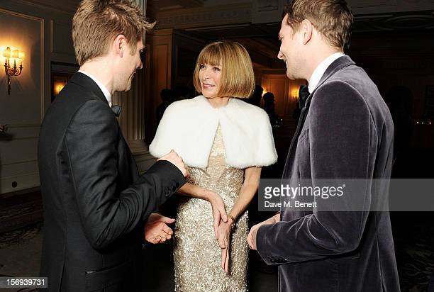 Christopher Bailey Anna Wintour and Simon Woods attend a drinks reception at the 58th London Evening Standard Theatre Awards in association with...