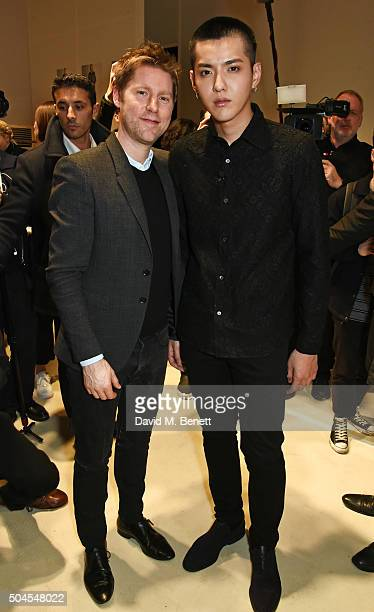 Christopher Bailey Burberry Chief Creative and Chief Executive Officer and Kris Wu attend the Burberry Menswear January 2016 Show on January 11 2016...