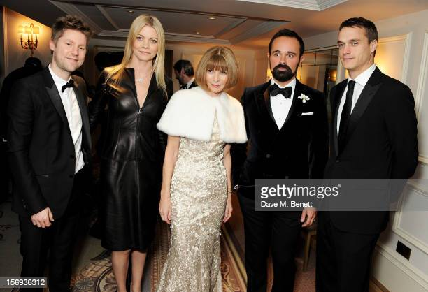Christopher Bailey Jemma Kidd Anna Wintour Evgeny Lebedev and Arthur Wellesley attend a drinks reception at the 58th London Evening Standard Theatre...