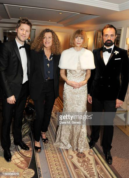 Christopher Bailey Nicole Farhi Anna Wintour and Evgeny Lebedev attend a drinks reception at the 58th London Evening Standard Theatre Awards in...