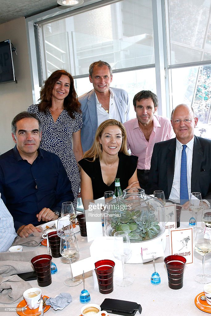 Christopher Baldelli, Guests, Journalists Louis Laforge, David Pujadas and President of France Television Remy Pflimlin attend the 2015 Roland Garros French Tennis Open - Day Thirteen, on June 5, 2015 in Paris, France.