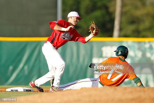 Christopher Barr of the Miami Hurricanes steals second base ahead of the tag by Brett Kay of the Illinois State Redbirds on March 13 2013 at Alex...