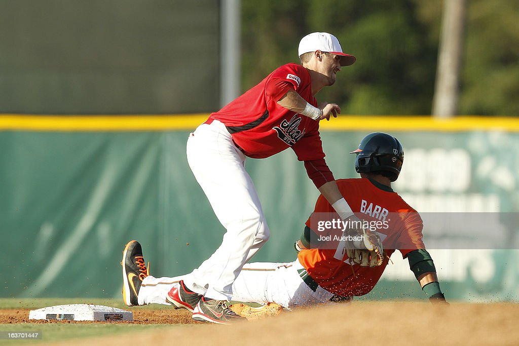 Christopher Barr #17 of the Miami Hurricanes steals second base ahead of the tag by Brett Kay #17 of the Illinois State Redbirds on March 13, 2013 at Alex Rodriguez Park at Mark Light Field in Coral Gables, Florida. The Hurricanes defeated the Redbirds 9-2.