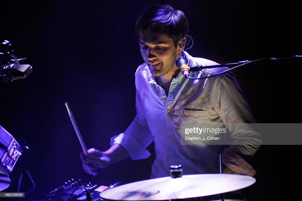 <a gi-track='captionPersonalityLinkClicked' href=/galleries/search?phrase=Christopher+Bear&family=editorial&specificpeople=5484228 ng-click='$event.stopPropagation()'>Christopher Bear</a> of Grizzly Bear performs in concert at The Brown Theatre on April 1, 2013 in Louisville, Kentucky.