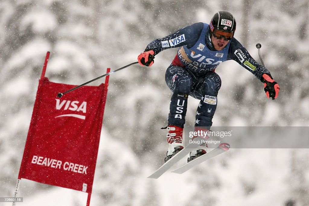 Christopher Beckmann of the USA attacks the course in the FIS Alpine World Cup Men's Downhill on December 1, 2006 on Birds of Prey at Beaver Creek in Avon, Colorado.