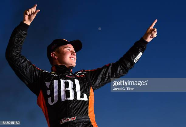 Christopher Bell driver of the JBL Toyota celebrates in Victory Lane after winning the NASCAR Camping World Truck Series Active Pest Control 200 at...