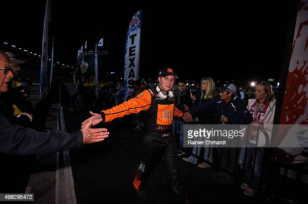 Christopher Bell driver of the JBL Toyota greets fans during the NASCAR Camping World Truck Series WinStar World Casino 350 at Texas Motor Speedway...